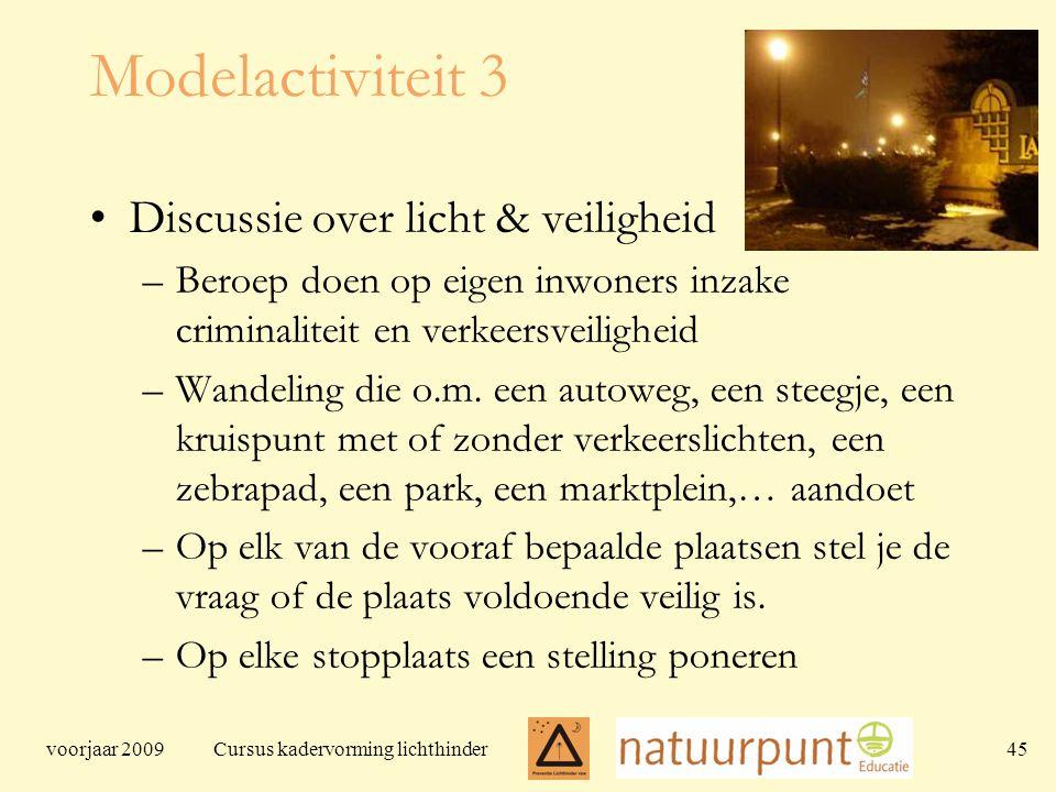 voorjaar 2009 Cursus kadervorming lichthinder 45 Modelactiviteit 3 Discussie over licht & veiligheid –Beroep doen op eigen inwoners inzake criminaliteit en verkeersveiligheid –Wandeling die o.m.