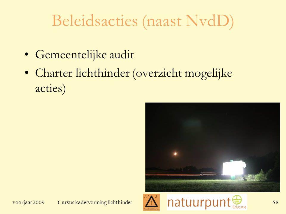 voorjaar 2009 Cursus kadervorming lichthinder 58 Beleidsacties (naast NvdD) Gemeentelijke audit Charter lichthinder (overzicht mogelijke acties)