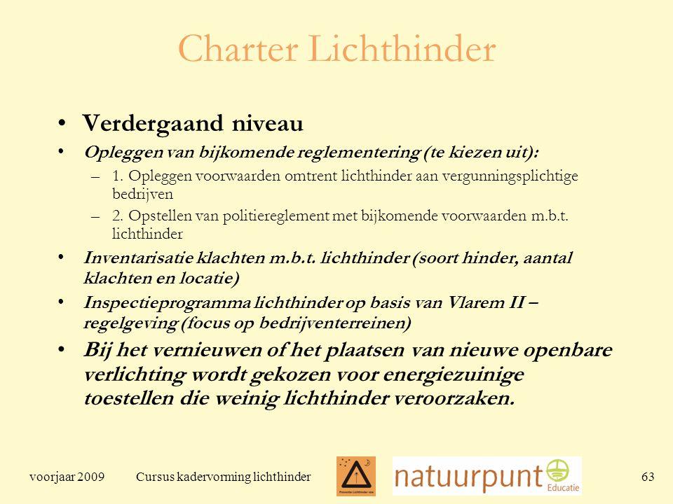 voorjaar 2009 Cursus kadervorming lichthinder 63 Charter Lichthinder Verdergaand niveau Opleggen van bijkomende reglementering (te kiezen uit): –1.