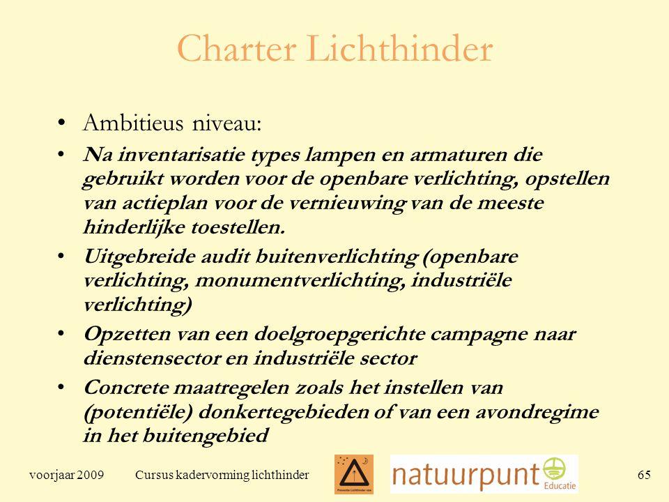 voorjaar 2009 Cursus kadervorming lichthinder 65 Charter Lichthinder Ambitieus niveau: Na inventarisatie types lampen en armaturen die gebruikt worden voor de openbare verlichting, opstellen van actieplan voor de vernieuwing van de meeste hinderlijke toestellen.