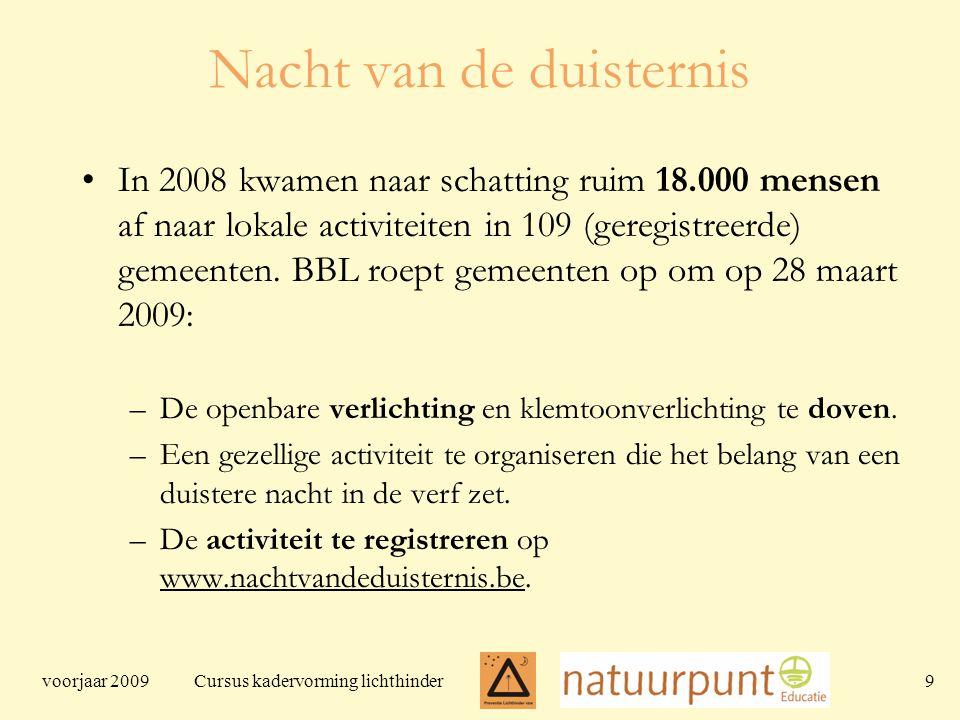 voorjaar 2009 Cursus kadervorming lichthinder 9 Nacht van de duisternis In 2008 kwamen naar schatting ruim 18.000 mensen af naar lokale activiteiten in 109 (geregistreerde) gemeenten.