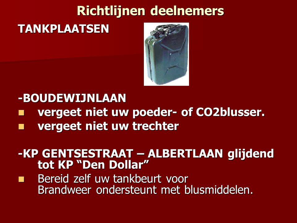 Richtlijnen deelnemers Richtlijnen deelnemersTANKPLAATSEN-BOUDEWIJNLAAN vergeet niet uw poeder- of CO2blusser.