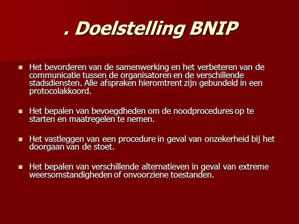 Doelstelling BNIP Het bevorderen van de samenwerking en het verbeteren van de communicatie tussen de organisatoren en de verschillende stadsdiensten.