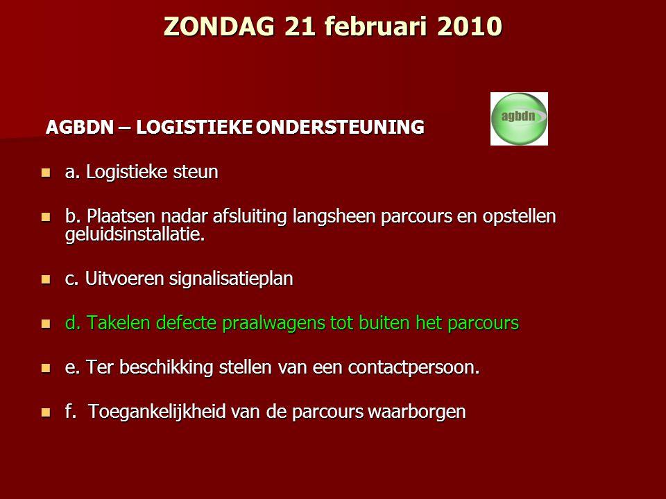 ZONDAG 21 februari 2010 AGBDN – LOGISTIEKE ONDERSTEUNING AGBDN – LOGISTIEKE ONDERSTEUNING a.