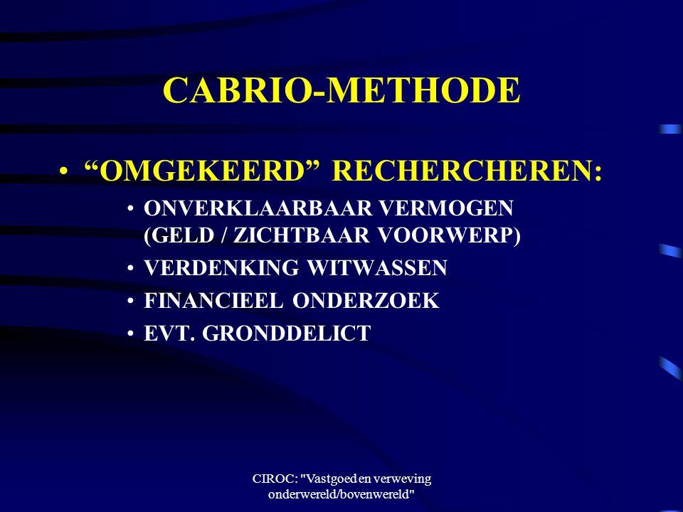 CIROC: Vastgoed en verweving onderwereld/bovenwereld CABRIO-METHODE OMGEKEERD RECHERCHEREN: ONVERKLAARBAAR VERMOGEN (GELD / ZICHTBAAR VOORWERP) VERDENKING WITWASSEN FINANCIEEL ONDERZOEK EVT.