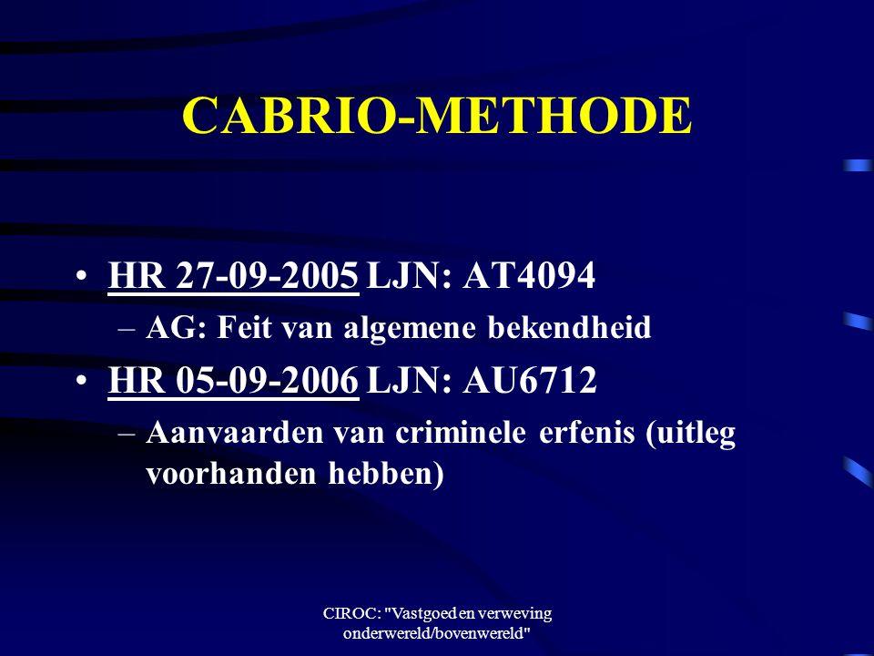 CIROC: Vastgoed en verweving onderwereld/bovenwereld CABRIO-METHODE HR 27-09-2005 LJN: AT4094 –AG: Feit van algemene bekendheid HR 05-09-2006 LJN: AU6712 –Aanvaarden van criminele erfenis (uitleg voorhanden hebben)