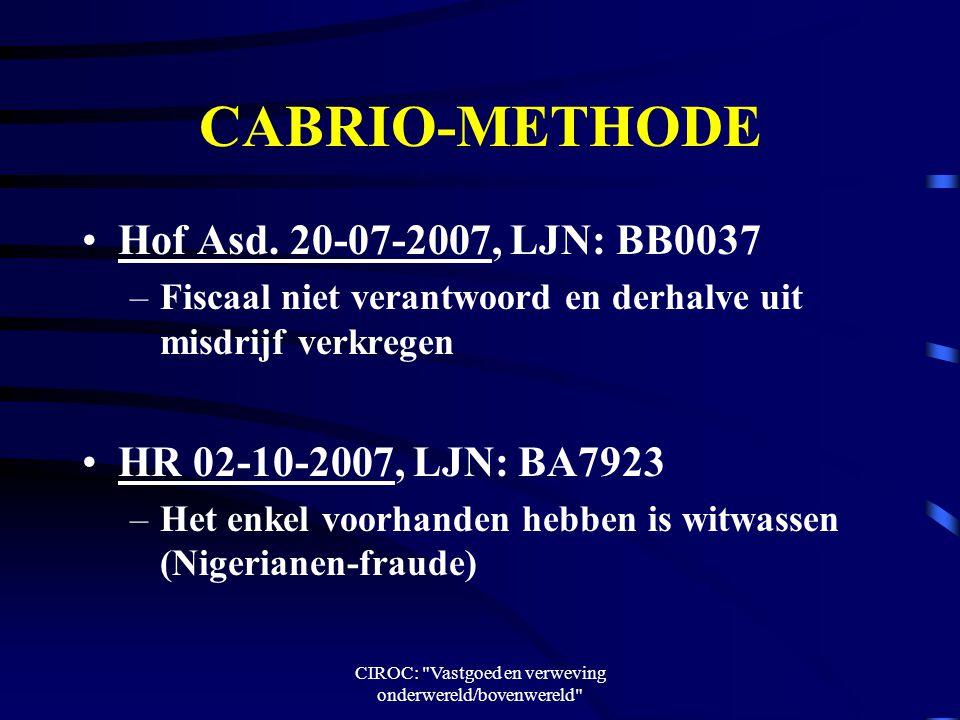 CIROC: Vastgoed en verweving onderwereld/bovenwereld CABRIO-METHODE Hof Asd.