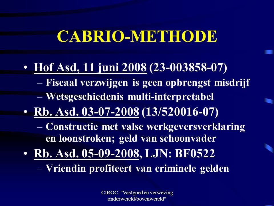 CIROC: Vastgoed en verweving onderwereld/bovenwereld CABRIO-METHODE Hof Asd, 11 juni 2008 (23-003858-07) –Fiscaal verzwijgen is geen opbrengst misdrijf –Wetsgeschiedenis multi-interpretabel Rb.
