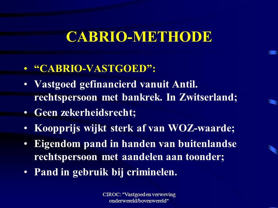 CIROC: Vastgoed en verweving onderwereld/bovenwereld CABRIO-METHODE CABRIO-VASTGOED : Vastgoed gefinancierd vanuit Antil.