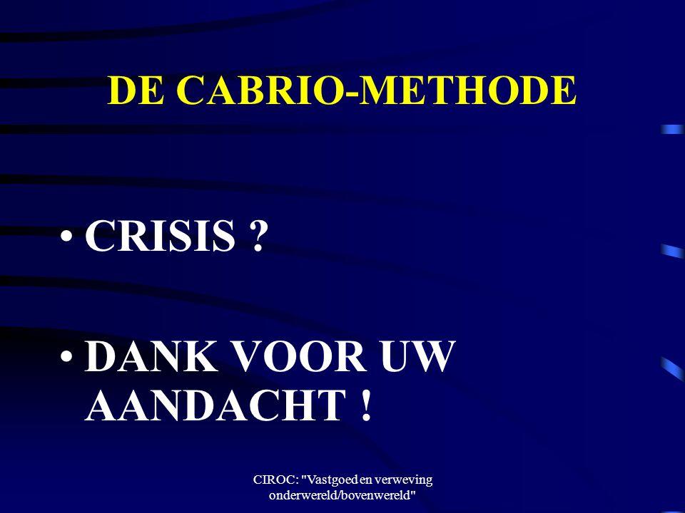 CIROC: Vastgoed en verweving onderwereld/bovenwereld DE CABRIO-METHODE CRISIS .