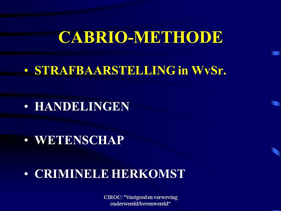 CIROC: Vastgoed en verweving onderwereld/bovenwereld CABRIO-METHODE STRAFBAARSTELLING in WvSr.