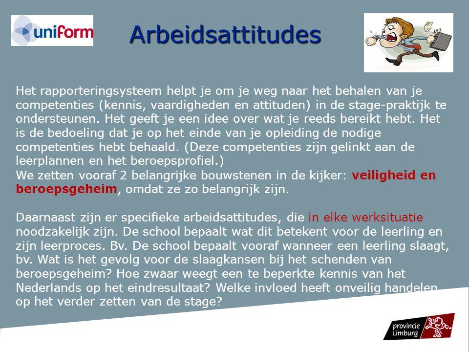 Arbeidsattitudes Het rapporteringsysteem helpt je om je weg naar het behalen van je competenties (kennis, vaardigheden en attituden) in de stage-prakt