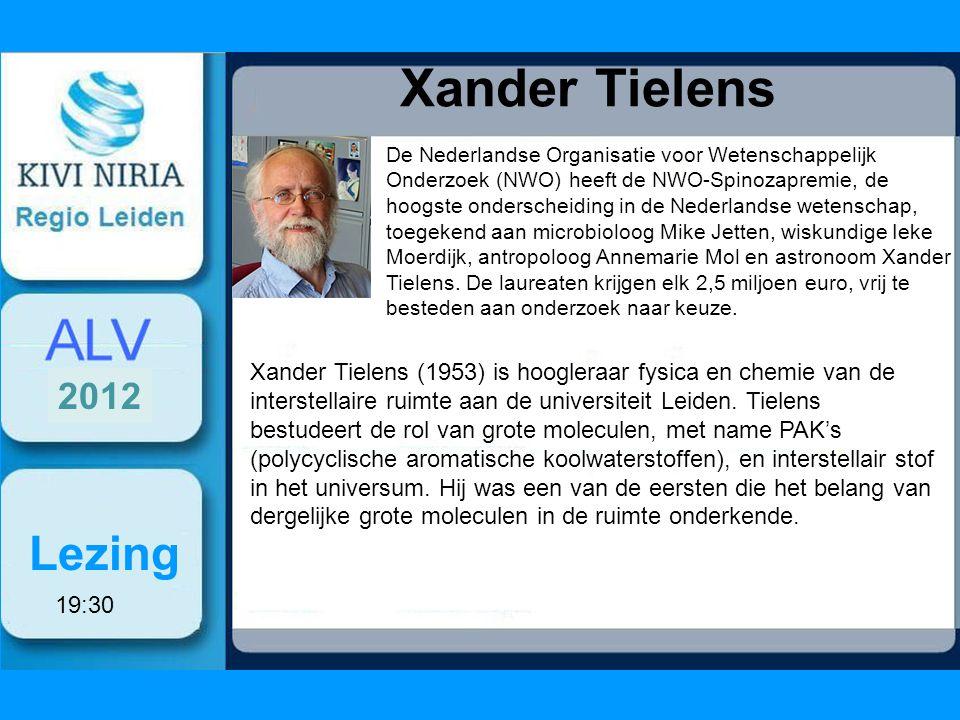 Xander Tielens Lezing De Nederlandse Organisatie voor Wetenschappelijk Onderzoek (NWO) heeft de NWO-Spinozapremie, de hoogste onderscheiding in de Nederlandse wetenschap, toegekend aan microbioloog Mike Jetten, wiskundige Ieke Moerdijk, antropoloog Annemarie Mol en astronoom Xander Tielens.