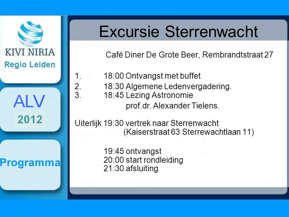 Excursie Sterrenwacht Café Diner De Grote Beer, Rembrandtstraat 27 1. 18:00 Ontvangst met buffet 2.18:30 Algemene Ledenvergadering. 3. 18:45 Lezing As