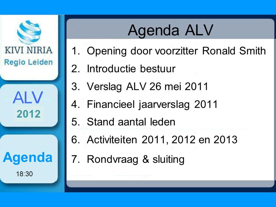 Agenda ALV 1.Opening door voorzitter Ronald Smith 2.Introductie bestuur 3.Verslag ALV 26 mei 2011 4.Financieel jaarverslag 2011 5.Stand aantal leden 6.Activiteiten 2011, 2012 en 2013 7.Rondvraag & sluiting Agenda 2012 18:30