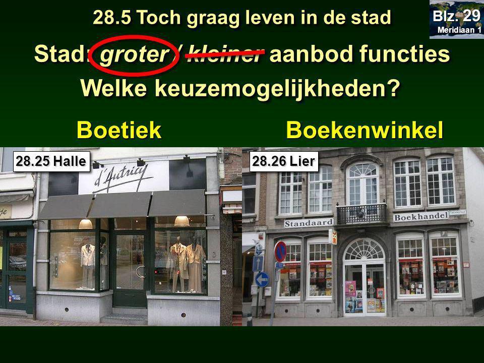 BoetiekBoekenwinkel 28.25 Halle 28.26 Lier 28.5 Toch graag leven in de stad Meridiaan 1 Meridiaan 1 Blz.