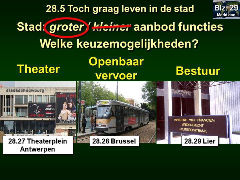 Theater Openbaar vervoer 28.27 Theaterplein Antwerpen 28.28 Brussel Bestuur 28.29 Lier 28.5 Toch graag leven in de stad Meridiaan 1 Meridiaan 1 Blz.