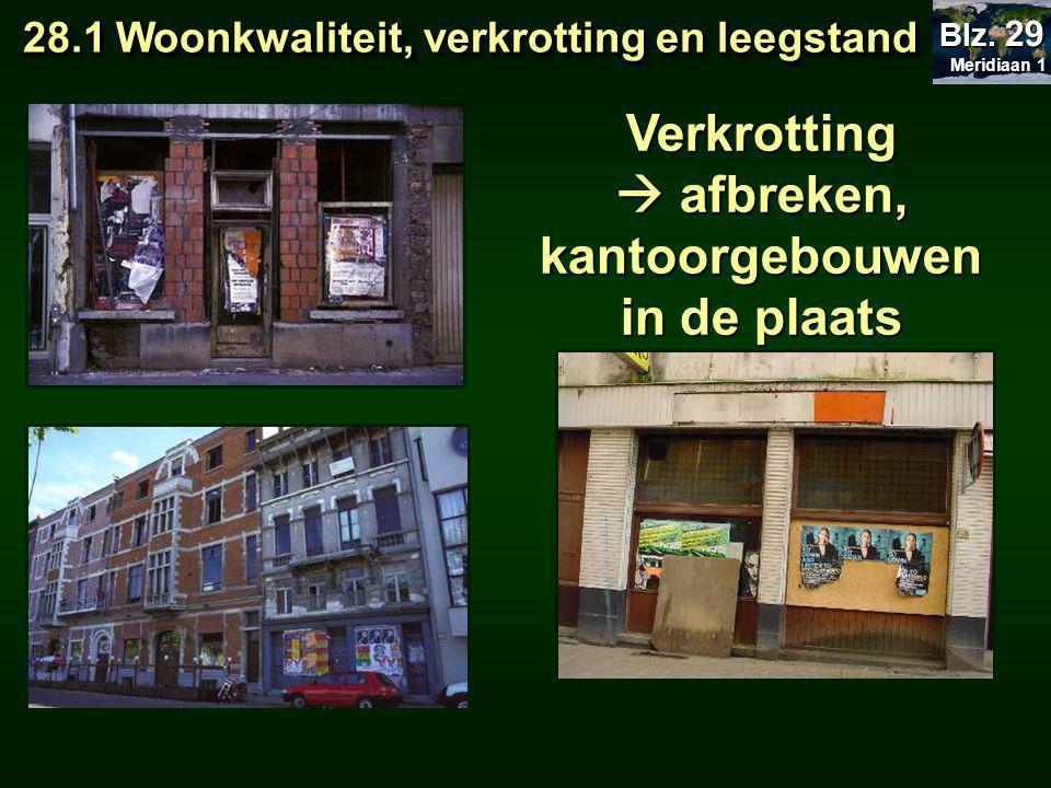 Verkrotting  afbreken, kantoorgebouwen in de plaats 28.1 Woonkwaliteit, verkrotting en leegstand 28.1 Woonkwaliteit, verkrotting en leegstand Meridiaan 1 Meridiaan 1 Blz.