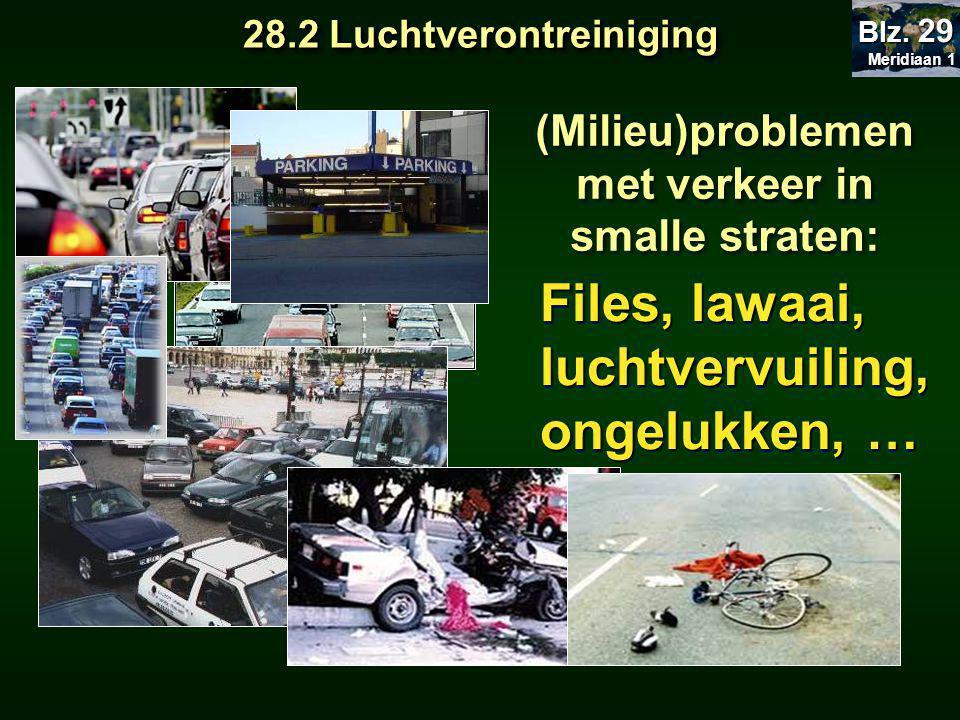 (Milieu)problemen met verkeer in smalle straten: Files, lawaai, luchtvervuiling, ongelukken, … 28.2 Luchtverontreiniging Meridiaan 1 Meridiaan 1 Blz.
