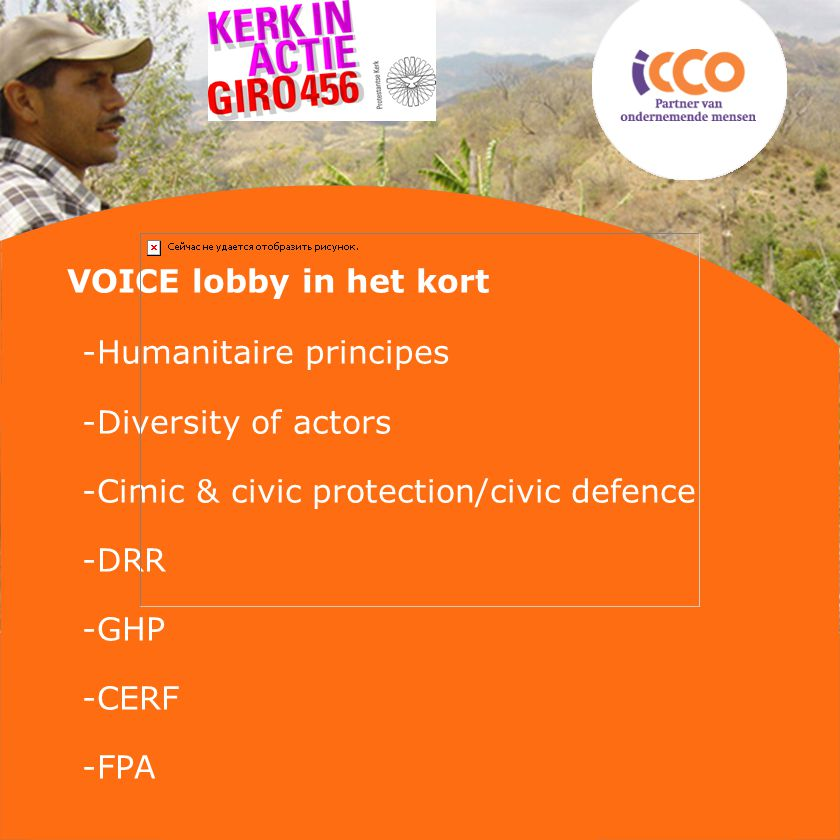 VOICE lobby in het kort -Humanitaire principes -Diversity of actors -Cimic & civic protection/civic defence -DRR -GHP -CERF -FPA