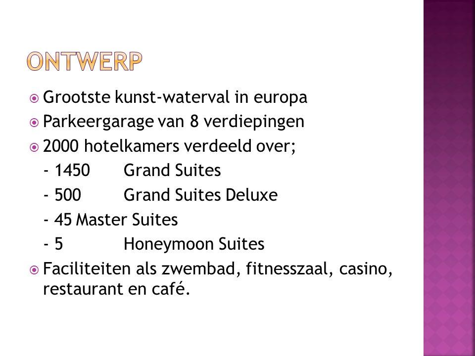  Grootste kunst-waterval in europa  Parkeergarage van 8 verdiepingen  2000 hotelkamers verdeeld over; - 1450Grand Suites - 500 Grand Suites Deluxe - 45Master Suites - 5Honeymoon Suites  Faciliteiten als zwembad, fitnesszaal, casino, restaurant en café.