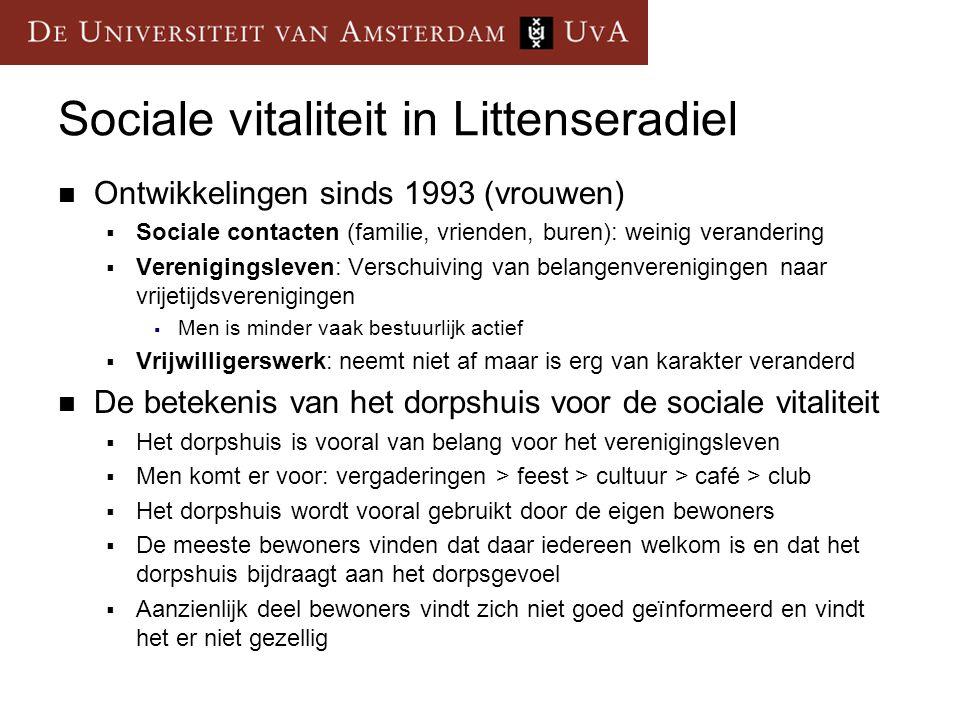 Sociale vitaliteit in Littenseradiel Ontwikkelingen sinds 1993 (vrouwen)  Sociale contacten (familie, vrienden, buren): weinig verandering  Verenigi