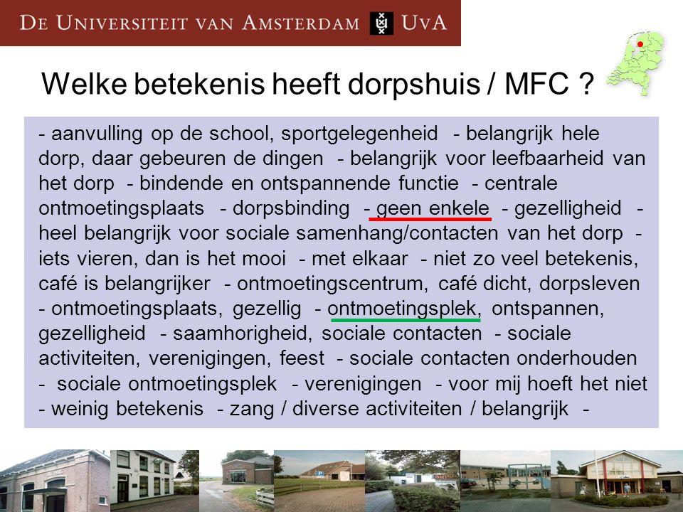 Welke betekenis heeft dorpshuis / MFC ? - aanvulling op de school, sportgelegenheid - belangrijk hele dorp, daar gebeuren de dingen - belangrijk voor