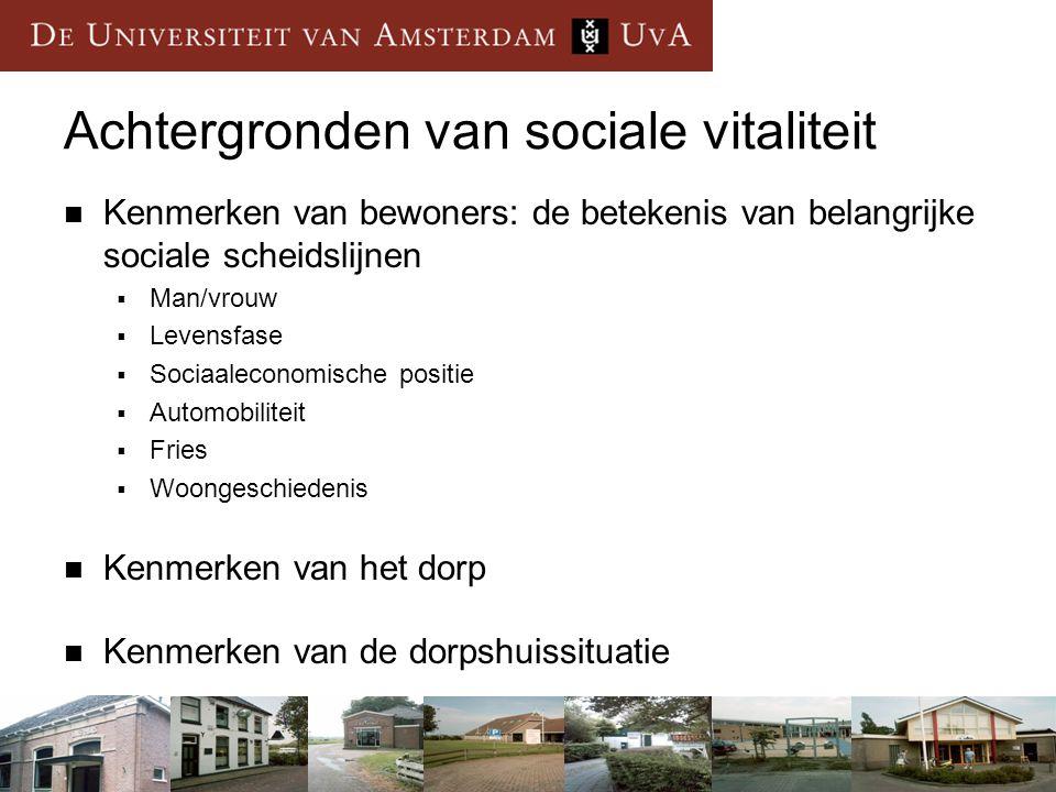 Achtergronden van sociale vitaliteit Kenmerken van bewoners: de betekenis van belangrijke sociale scheidslijnen  Man/vrouw  Levensfase  Sociaalecon