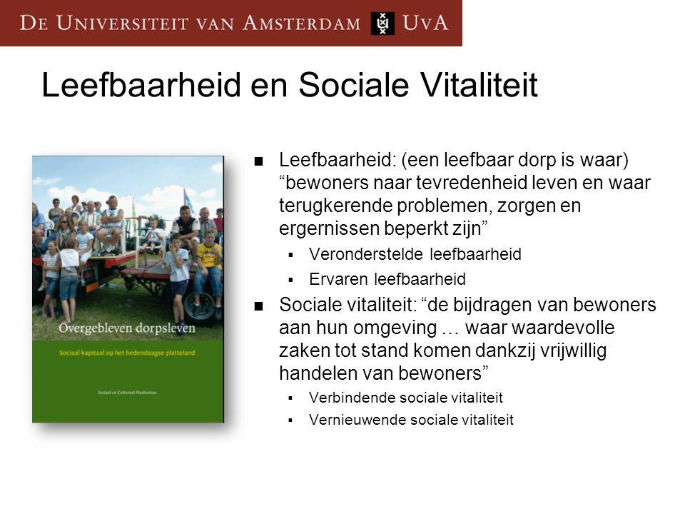 """Leefbaarheid en Sociale Vitaliteit Leefbaarheid: (een leefbaar dorp is waar) """"bewoners naar tevredenheid leven en waar terugkerende problemen, zorgen"""