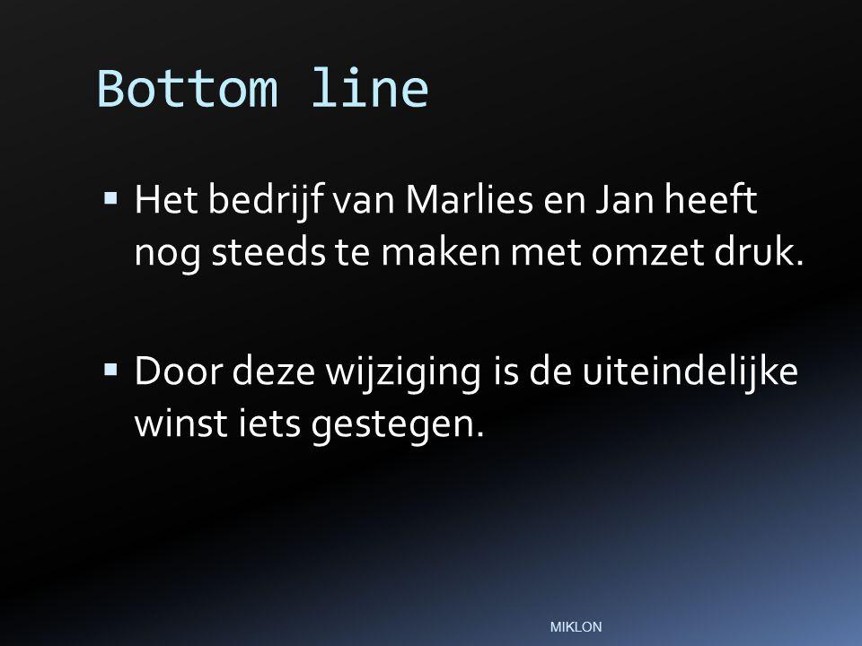 Bottom line  Het bedrijf van Marlies en Jan heeft nog steeds te maken met omzet druk.