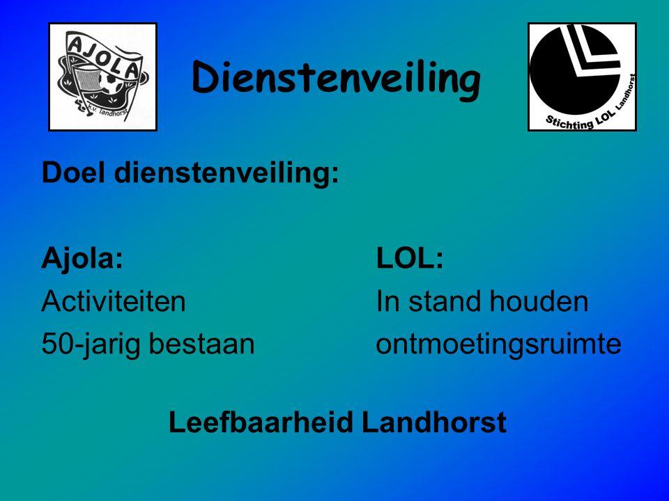 Dienstenveiling Doel dienstenveiling: Ajola:LOL: ActiviteitenIn stand houden 50-jarig bestaanontmoetingsruimte Leefbaarheid Landhorst