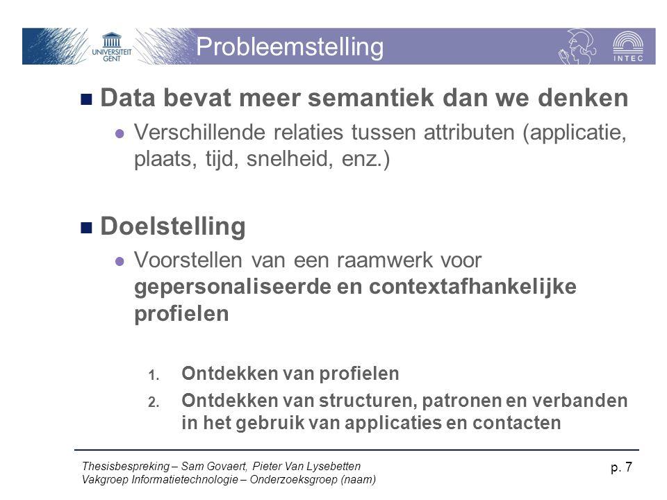 Probleemstelling Data bevat meer semantiek dan we denken Verschillende relaties tussen attributen (applicatie, plaats, tijd, snelheid, enz.) Doelstelling Voorstellen van een raamwerk voor gepersonaliseerde en contextafhankelijke profielen 1.