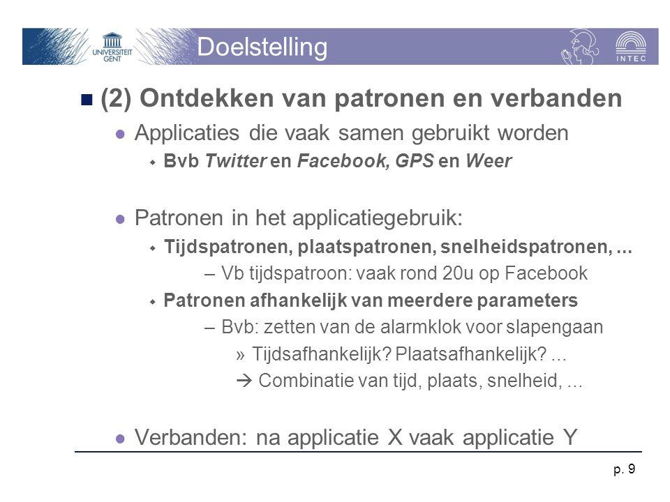 Doelstelling (2) Ontdekken van patronen en verbanden Applicaties die vaak samen gebruikt worden  Bvb Twitter en Facebook, GPS en Weer Patronen in het applicatiegebruik:  Tijdspatronen, plaatspatronen, snelheidspatronen,...