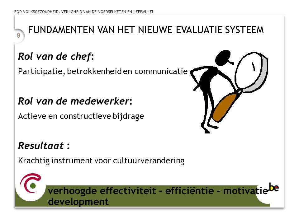 FOD VOLKSGEZONDHEID, VEILIGHEID VAN DE VOEDSELKETEN EN LEEFMILIEU 9 Rol van de chef: Participatie, betrokkenheid en communicatie Rol van de medewerker: Actieve en constructieve bijdrage Resultaat : Krachtig instrument voor cultuurverandering FUNDAMENTEN VAN HET NIEUWE EVALUATIE SYSTEEM verhoogde effectiviteit - efficiëntie – motivatie development