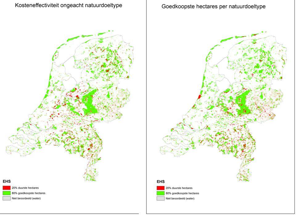 Wettelijke Onderzoekstaken Natuur & Milieu Overzicht gebieden bij KE-realisatie 80% EHS: reductie 20% hele EHS (l) versus reductie per natuurdoeltype