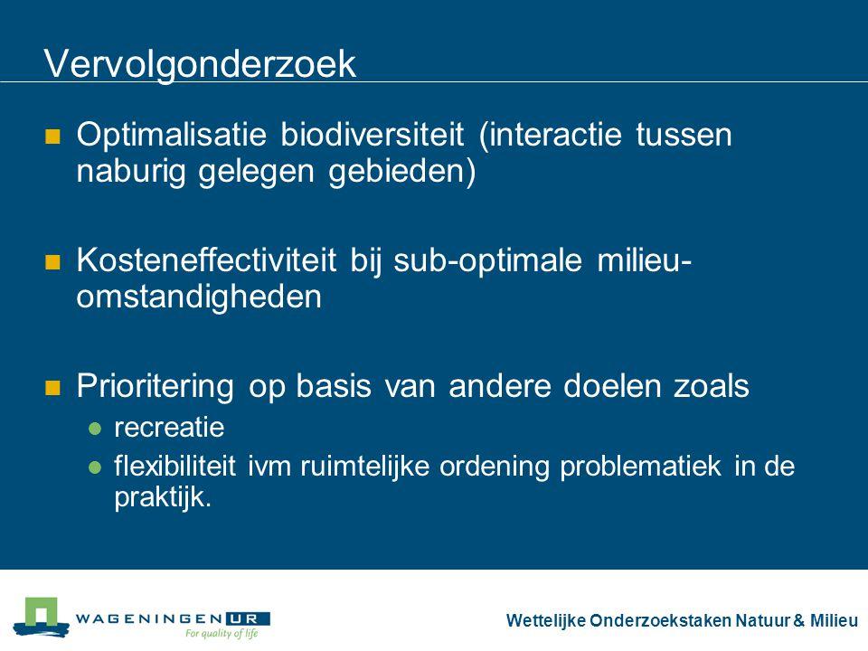 Wettelijke Onderzoekstaken Natuur & Milieu Vervolgonderzoek Optimalisatie biodiversiteit (interactie tussen naburig gelegen gebieden) Kosteneffectivit