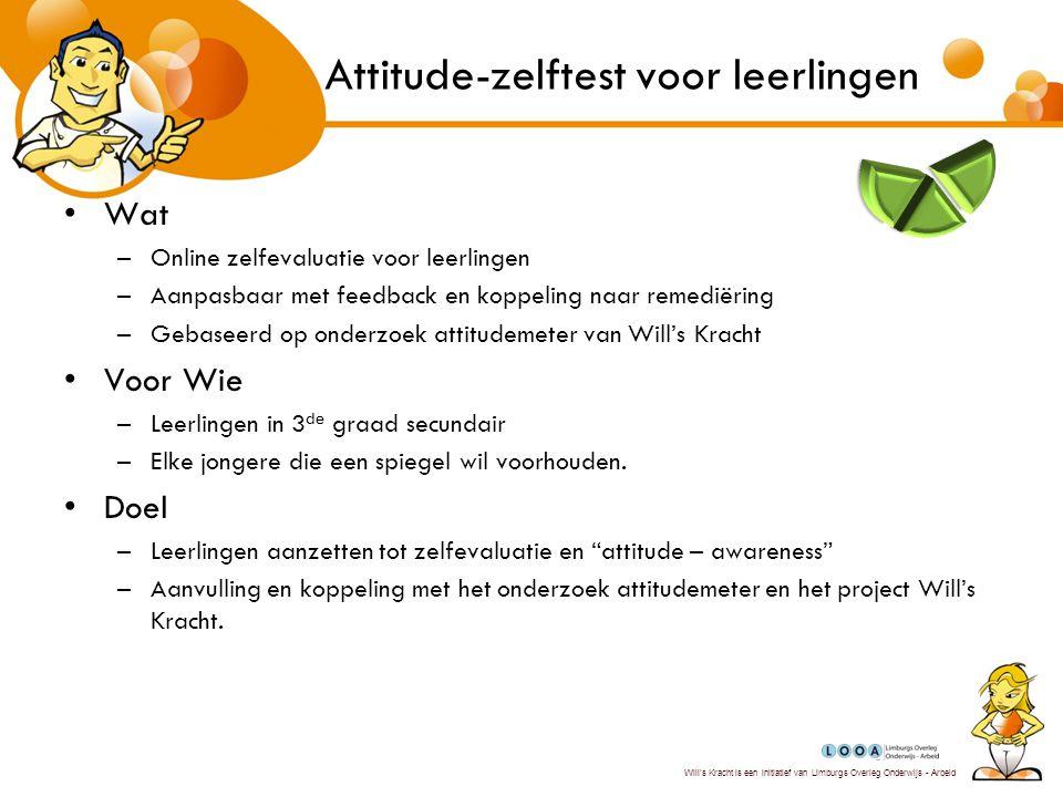 Will's Kracht is een initiatief van Limburgs Overleg Onderwijs - Arbeid Implementatie Vanuit directie –Invloed naar alle doelgroepen –Groeien als instelling, groep, onderneming naar een attitudecultuur –Sturing en motivatie –.