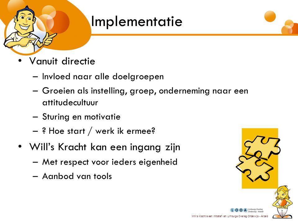 Will's Kracht is een initiatief van Limburgs Overleg Onderwijs - Arbeid Implementatie Jaarplanning is een ideaal instrument –.