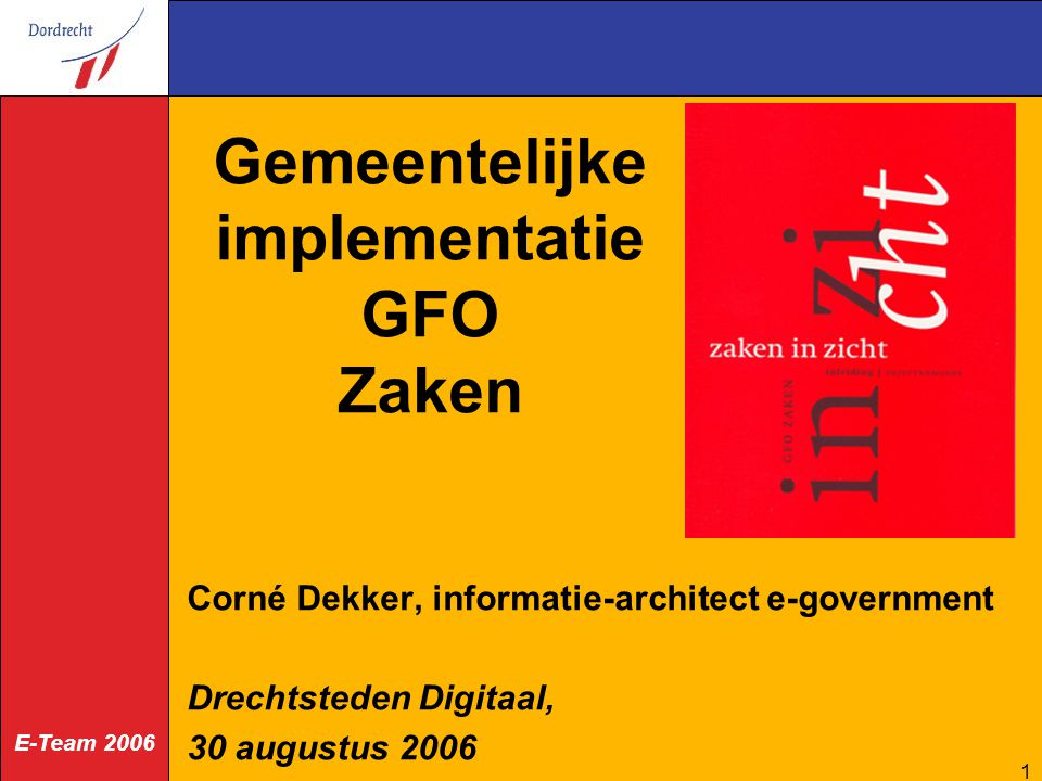 E-Team 2006 2 E-government architectuur