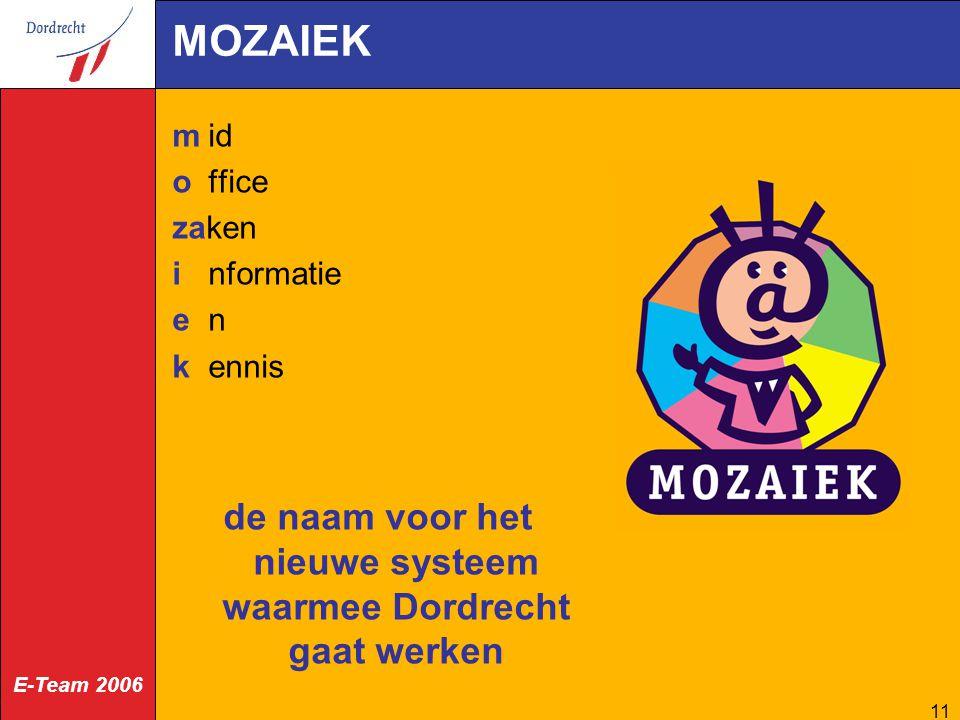 E-Team 2006 11 MOZAIEK mid office zaken informatie en kennis de naam voor het nieuwe systeem waarmee Dordrecht gaat werken