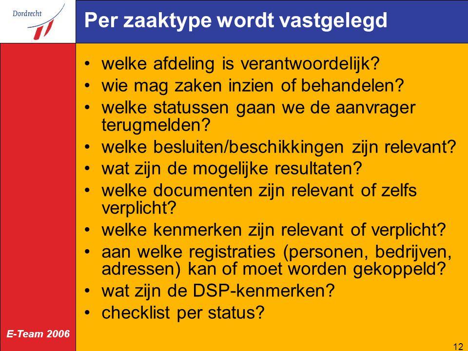 E-Team 2006 12 Per zaaktype wordt vastgelegd welke afdeling is verantwoordelijk? wie mag zaken inzien of behandelen? welke statussen gaan we de aanvra