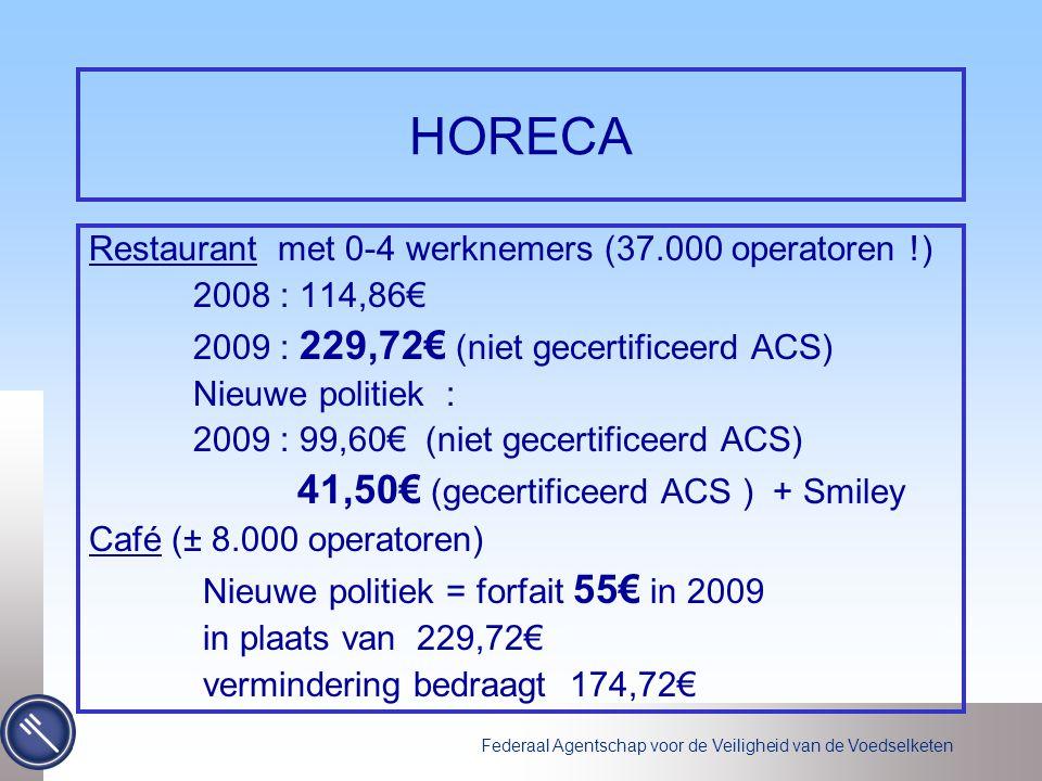 Federaal Agentschap voor de Veiligheid van de Voedselketen HORECA Restaurant met 0-4 werknemers (37.000 operatoren !) 2008 : 114,86€ 2009 : 229,72€ (niet gecertificeerd ACS) Nieuwe politiek : 2009 : 99,60€ (niet gecertificeerd ACS) 41,50€ (gecertificeerd ACS ) + Smiley Café (± 8.000 operatoren) Nieuwe politiek = forfait 55€ in 2009 in plaats van 229,72€ vermindering bedraagt 174,72€