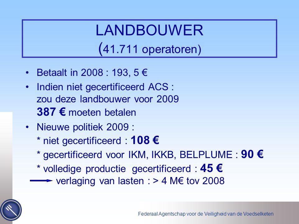 Federaal Agentschap voor de Veiligheid van de Voedselketen LANDBOUWER ( 41.711 operatoren) Betaalt in 2008 : 193, 5 € Indien niet gecertificeerd ACS :