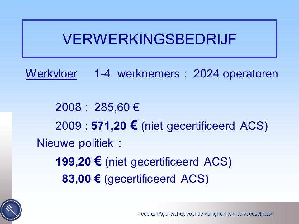 Federaal Agentschap voor de Veiligheid van de Voedselketen VERWERKINGSBEDRIJF Werkvloer 1-4 werknemers : 2024 operatoren 2008 : 285,60 € 2009 : 571,20 € (niet gecertificeerd ACS) Nieuwe politiek : 199,20 € (niet gecertificeerd ACS) 83,00 € (gecertificeerd ACS)