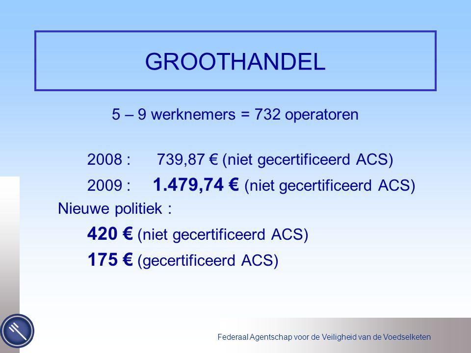 Federaal Agentschap voor de Veiligheid van de Voedselketen GROOTHANDEL 5 – 9 werknemers = 732 operatoren 2008 : 739,87 € (niet gecertificeerd ACS) 2009 : 1.479,74 € (niet gecertificeerd ACS) Nieuwe politiek : 420 € (niet gecertificeerd ACS) 175 € (gecertificeerd ACS)