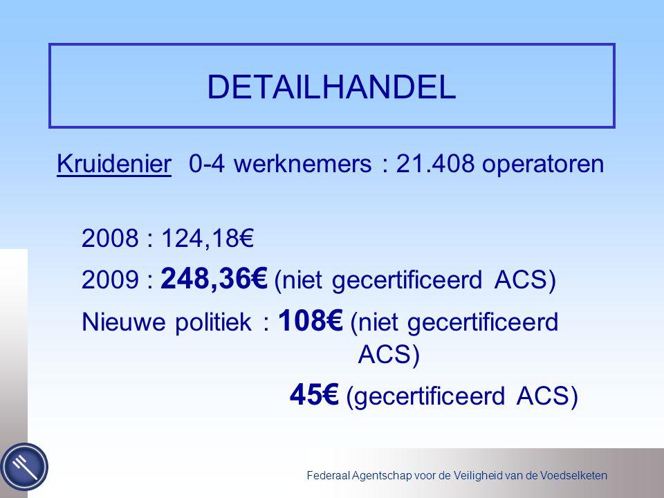 Federaal Agentschap voor de Veiligheid van de Voedselketen DETAILHANDEL Kruidenier 0-4 werknemers : 21.408 operatoren 2008 : 124,18€ 2009 : 248,36€ (niet gecertificeerd ACS) Nieuwe politiek : 108€ (niet gecertificeerd ACS) 45€ (gecertificeerd ACS)