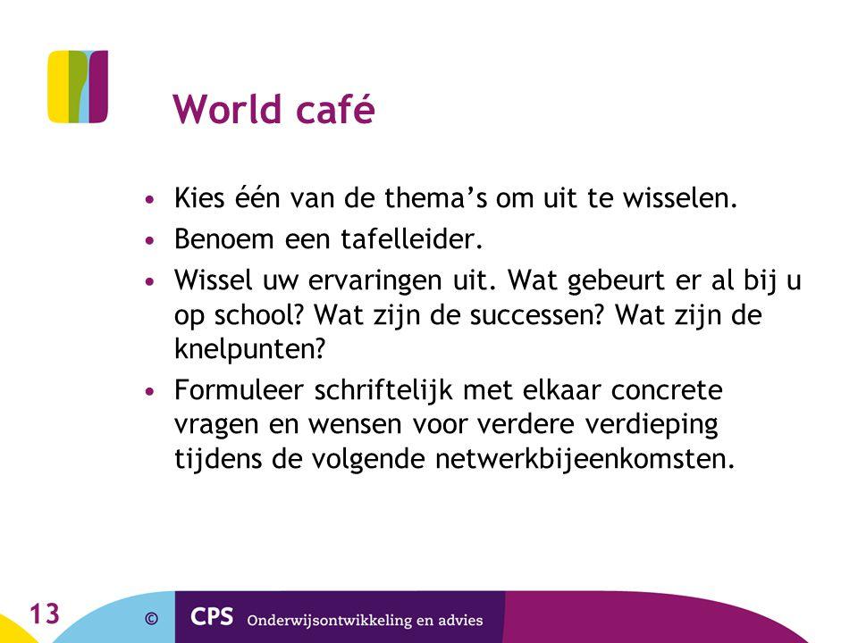 13 World café Kies één van de thema's om uit te wisselen.