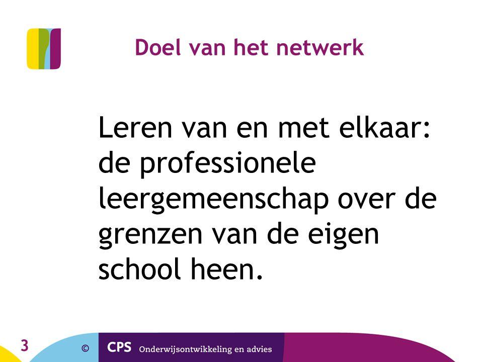 3 Doel van het netwerk Leren van en met elkaar: de professionele leergemeenschap over de grenzen van de eigen school heen.