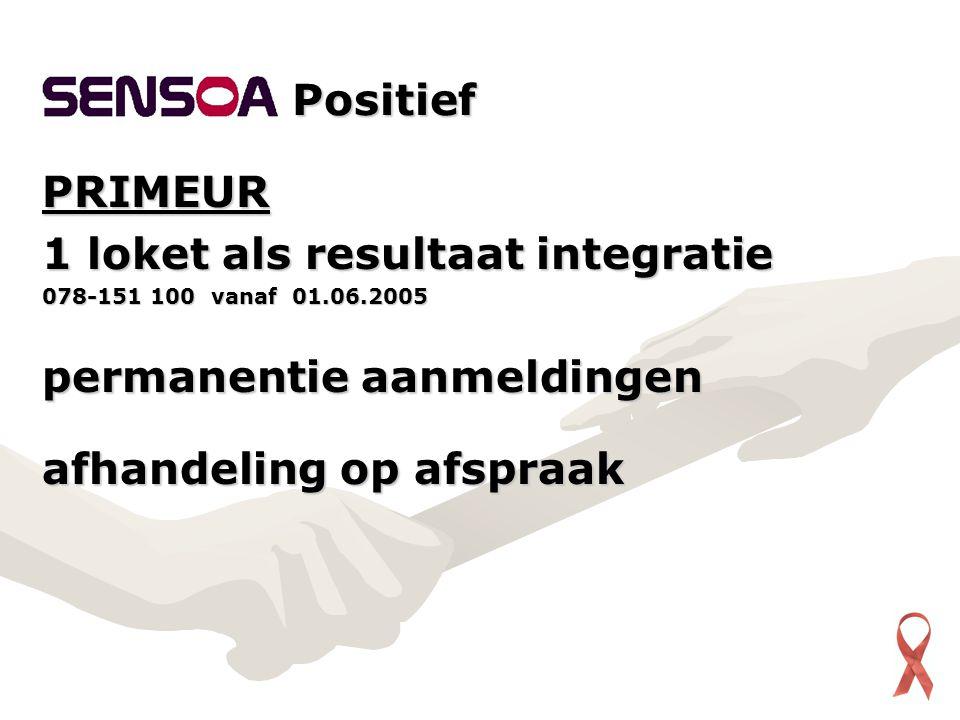 PRIMEUR 1 loket als resultaat integratie 078-151 100 vanaf 01.06.2005 permanentie aanmeldingen afhandeling op afspraak Positief