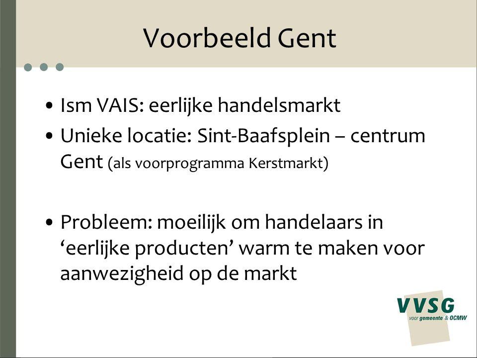 Voorbeeld Gent Ism VAIS: eerlijke handelsmarkt Unieke locatie: Sint-Baafsplein – centrum Gent (als voorprogramma Kerstmarkt) Probleem: moeilijk om handelaars in 'eerlijke producten' warm te maken voor aanwezigheid op de markt